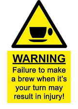A5 Comedy Workplace Tea Coffee Break Machine Sticker Spillage Chemical Accident