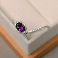 Real 14K White Gold 1.90 Ct Oval Diamond Amethyst Engagement Ring Size 5 6