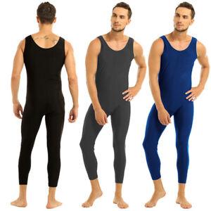 Herren U-Ausschnitt Spandex Ganzanzug Bodysuit Overall für Tanz Fitness Training