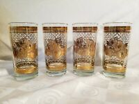Starlyte Highball Glasses Gold Floral and Lattice Pattern MCM Set of 4