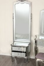 Mirror Silver Trim Bedroom Furniture Bedside Table Console Mirrored Matching