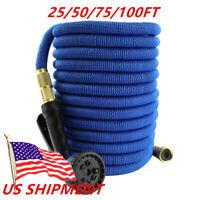 Blue Expanding Garden Hose Water Hose Sprayer Flexible Latex Tube 50/75/100FT