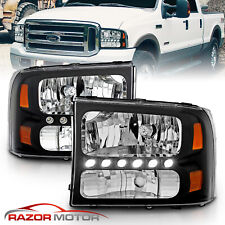 1999-2004 for Ford F250/F350 Superduty Excursion LED Black Harley Headlight