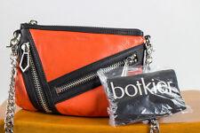Botkier Cruz Orange / Black Leather Multi-Zipper Chain Crossbody Handbag (New)
