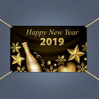 HAPPY NEW YEAR Eve Champagne Party Celebration Holiday Decor Vinyl Banner Sign