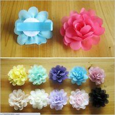 HOT! Baby Girls Chiffon fabric Flower hair clip Toddler costume Hair bow 16pcs