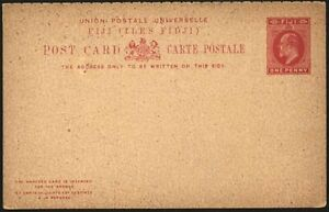 FIJI KEVII 1d. RED POSTCARD AND REPLY POSTAL STATIONERY (ID:149/D15501)