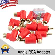 10 Pack Gold-Plated RCA Right Angle Adapters Male to Female 90° Angle Connector
