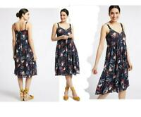 Ex M&S Per Una Summer Dress Women's Navy Floral Chiffon Strappy Lined RRP £45