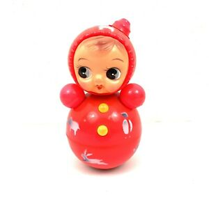 Vintage Japan Celluloid Chime Toy Doll Roly Poly Wobble Pink Baby Animals