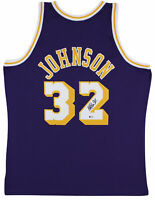 Lakers Magic Johnson Signed 1984-85 M&N HWC Swingman Purple Jersey BAS Witnessed