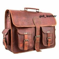 Vintage Briefcase Laptop Bag organic Style Handcrafted Leather Satchel