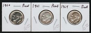 Lot of 3 Proof Roosevelt Silver Dimes, 1960, 1961 and 1964