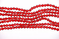 1 Strand CHRISTMAS RED non-AB Faceted Bicone Crystal Glass Beads 6 x 6mm bgl0425