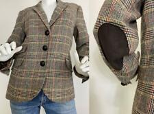 Talbots Blazer Jacket Plaid Wool Elbow Patches Brown Equestrian 10 Medium