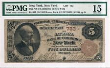 New York The NB of Commerce, $5 1882 National Bank N CH#733, FR#467, PMG 15