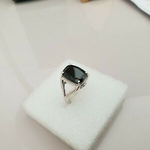 Stunning Black Spinel solitaire ring in platinum over sterling silver