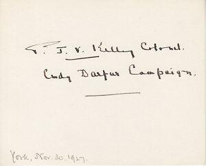 Philip Kelley, British Forces Commander, signed 1927 card