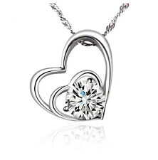 Fashion Women Heart 925 Sterling Silver Plated Pendant Necklace Chain Jewelry NE