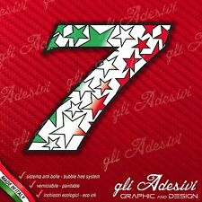 Adesivo Stickers NUMERO 7 moto auto cross STAR Verde Bianco Red Tricolore 15 cm