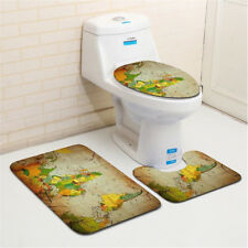 3 Pieces Bathroom Rugs Set Soft Flannel Mat World Map Toilet Lid Cover Bathmats