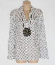 Women's CECIL Long Roll Sleeve Cream Patterned Cotton Blend Blouse Shirt Size M