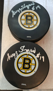 Gregg Sheppard Signed Boston Bruins Puck Inscribed With Case 1970's Hockey