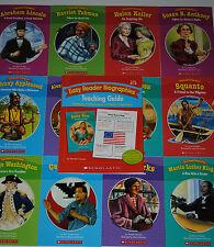 SET 12 Biographies Books W/ Guide Grade 1 2 Guided Reading Level I J Homeschool