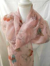 INTRIGUE XXL SCHAL, TUCH, 80x180 cm, SCHMETTERLINGE, rosa, *063*