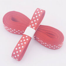 "5yds 3/8""(10MM) Red Christmas Ribbon Printed lovely dots Grosgrain Ribbo!"