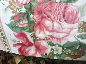 """Vintage Upholstery Fabric """"Bainbridge Stripe"""" By Greeff Pink Cabbage Roses"""