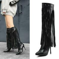 Womens Rivets Studded Knee High Boots Leather Pointy Toe Fringed Stiletto Heels