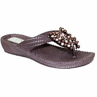 LADIES WOMEN FILP FLOPS DIAMANTE FLOWER TOE POST SOFT JELLY BEACH SANDALS SHOES