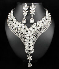 Ivy Clear Austrian Rhinestone Crystal Statement Necklace Earrings Set Prom N999s