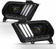 10-14 Mustang Black LED Sequential Turn Signal DRL Tube Projector Headlights