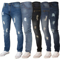 Enzo Designer Mens Denim Jeans Slim Fit Distressed Ripped Trouser Pants All Size