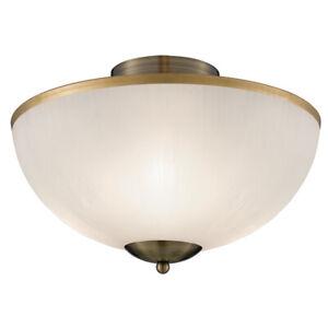 Searchlight Brahama 3 Lights Brass White Semi Flush Ceiling Fitting Uplighter