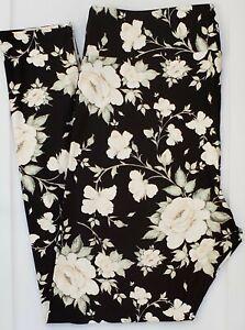 TC LuLaRoe Tall & Curvy Leggings Gorgeous Floral Roses Black Peach Pink F54