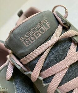 Skechers Ladies GO GOLF Walk Sport Shoe Womens 9.5 Gray/Pink Lace Up Relaxed Fit