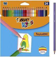 BIC Kids Tropicolors Crayons de Couleur - Coloris Assortis, Etui Carton de 24