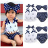 Summer Baby Girls Anchor Tops+Polka Dot Briefs Shorts 3pcs Outfits Set Beachwear