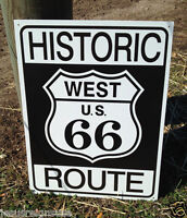 ROUTE 66 HISTORIC WEST Tin Metal Sign Wall Bar Garage Shop Classic Made in USA