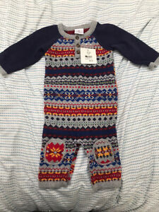 $60 NWT Hanna Andersson Boys Fair Isle Nordic Sweater Romper One Piece 60 3-6 m