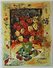 Sergey Kovrigo Silkscreen Serigraph Limited Edition Art Hand Signed Red Bouquet