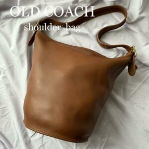 COACH Vintage Duffle Feed Sac Leather Shoulder Bucket Bag Brown 9085 USA