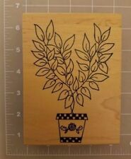 Me and Carrie Lou Potted Flower Plant XL Large Wood Mounted Rubber Stamp