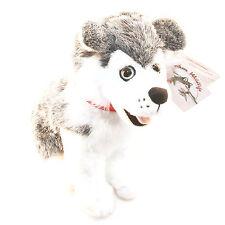 "Stuffed Animal House 12"" Siberian Husky Grey Sitting Smiling Dog Realistic NWT"