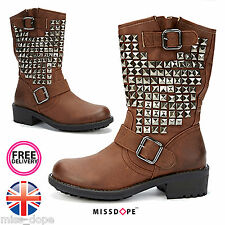 NEW BROWN STUDDED WOMENS BOOTS BUCKLE ANKLE SILVER LADIES STUD SHOES SIZES 5 6 7