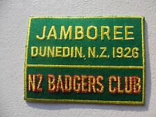 Jamboree Dunedin NZ 1926 NZ Badgers Club Embroidered Scout Cloth Badge   #