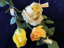 "Vintage Millinery Flower Pure Silk Rose Collection 2-3"" Yellow Gold German iw32"